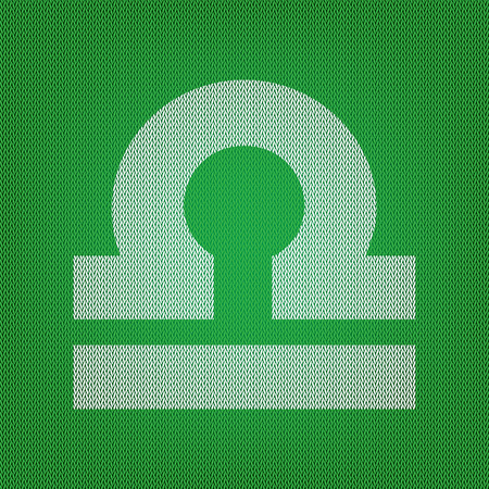 Libra sign illustration. white icon on the green knitwear or woolen cloth texture.