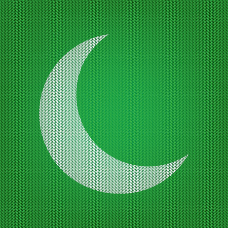 Moon sign illustration. white icon on the green knitwear or woolen cloth texture.