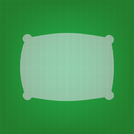 Pillow sign illustration. white icon on the green knitwear or woolen cloth texture. Illustration
