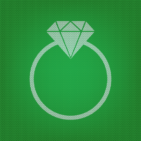 spoil: Diamond sign illustration. white icon on the green knitwear or woolen cloth texture.
