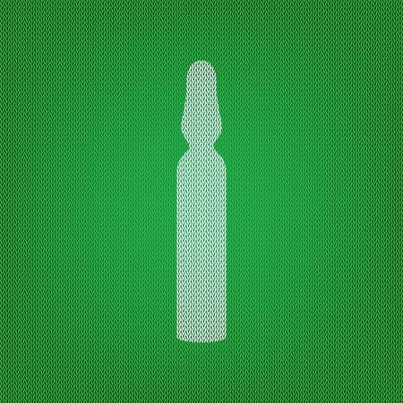 inyeccion intramuscular: signo ampolla médica. icono blanco en el tejido de punto verde o textura de lana tela. Vectores
