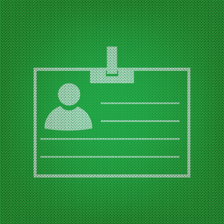 Id card sign. white icon on the green knitwear or woolen cloth texture. Illustration