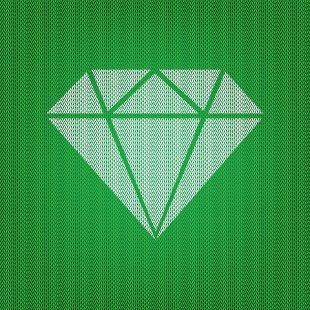 Diamond sign illustration. white icon on the green knitwear or woolen cloth texture.