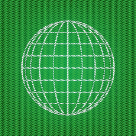 Earth Globe sign. white icon on the green knitwear or woolen cloth texture. Illustration