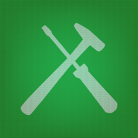 Tools sign illustration. white icon on the green knitwear or woolen cloth texture. Illustration