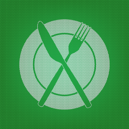 Fork, tape and Knife sign. white icon on the green knitwear or woolen cloth texture. Illustration