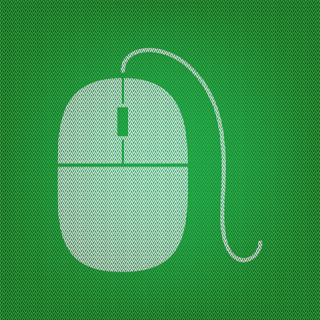 Mouse sign illustration. white icon on the green knitwear or woolen cloth texture.