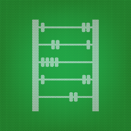 Retro abacus sign. white icon on the green knitwear or woolen cloth texture.