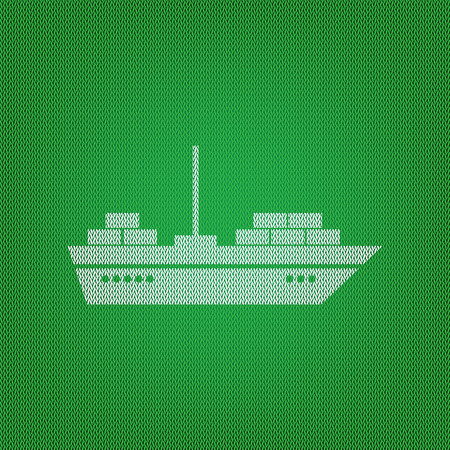 brigantine: Ship sign illustration. white icon on the green knitwear or woolen cloth texture.