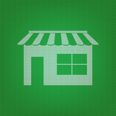 Store sign illustration. white icon on the green knitwear or woolen cloth texture. Illustration