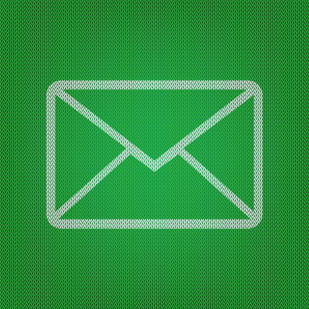 Letter sign illustration. white icon on the green knitwear or woolen cloth texture.