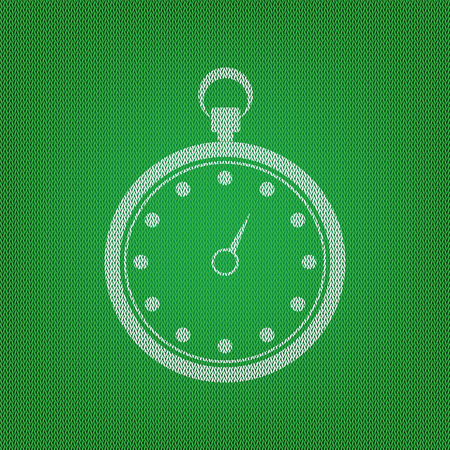 Stopwatch sign illustration. white icon on the green knitwear or woolen cloth texture. Illustration