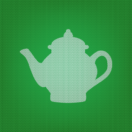 Tea maker sign. white icon on the green knitwear or woolen cloth texture.