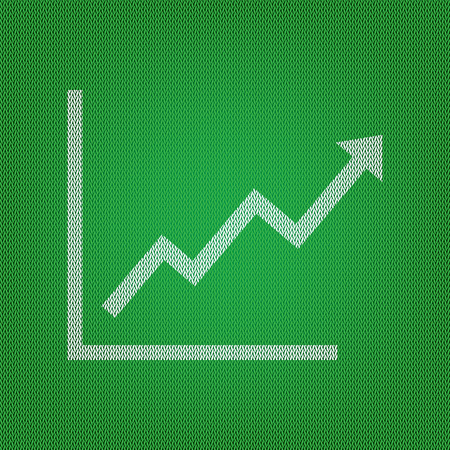 bargraph: Growing bars graphic sign. white icon on the green knitwear or woolen cloth texture. Illustration