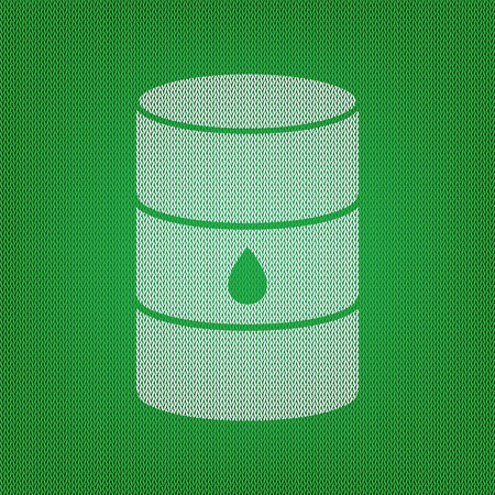 steel drum: Oil barrel sign. white icon on the green knitwear or woolen cloth texture.