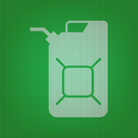 Jerrycan oil sign. Jerry can oil sign. white icon on the green knitwear or woolen cloth texture. Illustration