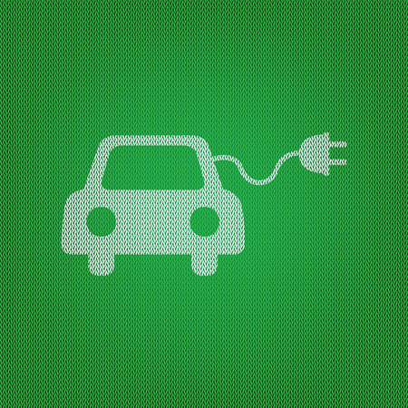 echnology: Eco electric car sign. white icon on the green knitwear or woolen cloth texture.