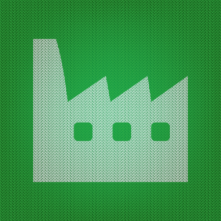 Factory sign illustration. white icon on the green knitwear or woolen cloth texture.