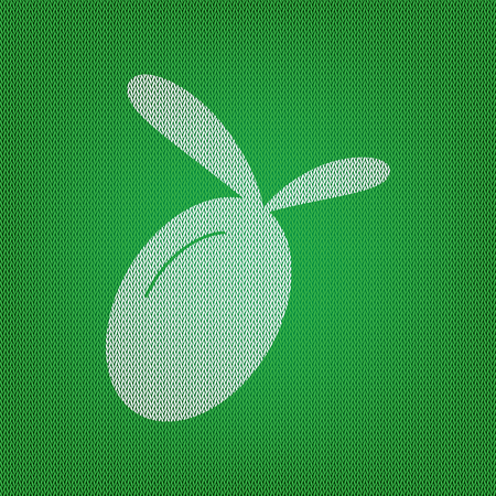 Olive sign illustration. white icon on the green knitwear or woolen cloth texture. Illustration