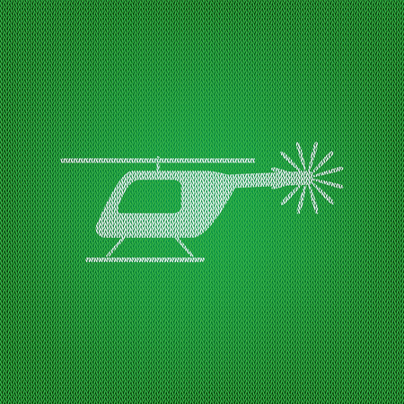 Helicopter sign illustration. white icon on the green knitwear or woolen cloth texture.