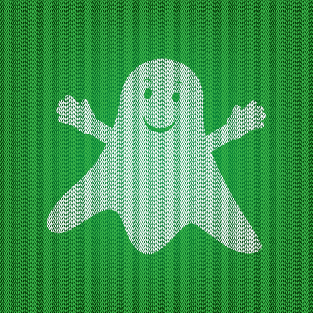 Ghost isolated sign. white icon on the green knitwear or woolen cloth texture.