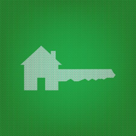 Home Key sign. white icon on the green knitwear or woolen cloth texture. Illustration
