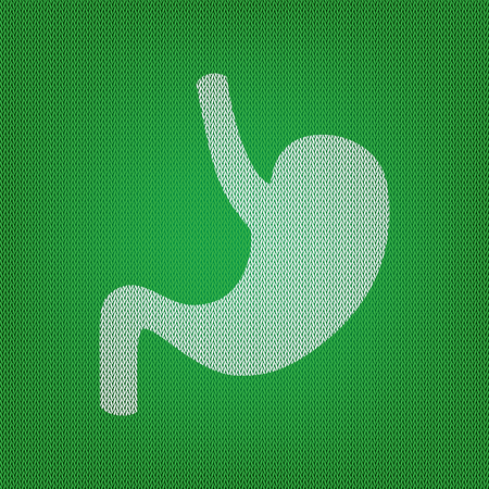 digestive system: Human anatomy Stomach. white icon on the green knitwear or woolen cloth texture.