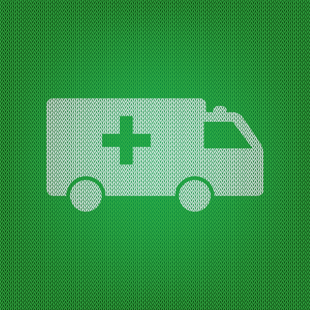 Ambulance sign illustration. white icon on the green knitwear or woolen cloth texture. Illustration