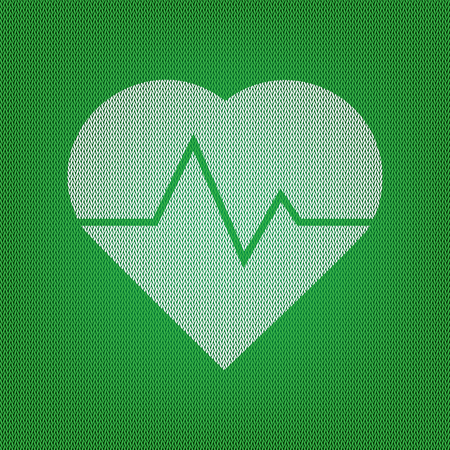 Heartbeat sign illustration. white icon on the green knitwear or woolen cloth texture. Illustration