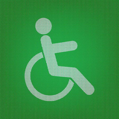 Disabled sign illustration. white icon on the green knitwear or woolen cloth texture. Illustration