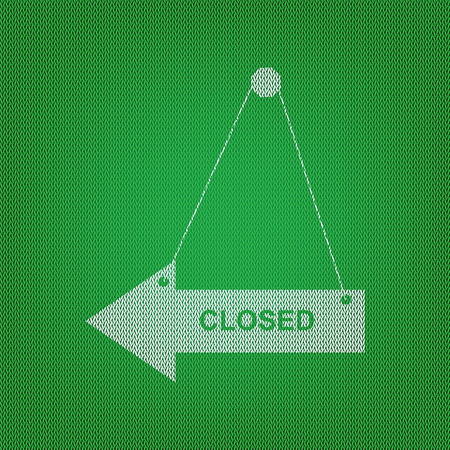 Closed sign illustration. white icon on the green knitwear or woolen cloth texture. Illustration