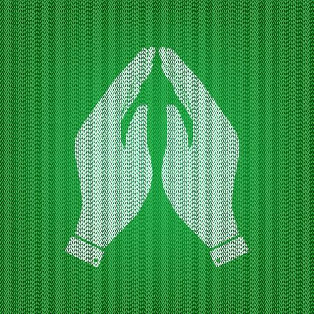 Hand icon illustration. Prayer symbol. white icon on the green knitwear or woolen cloth texture. Illustration