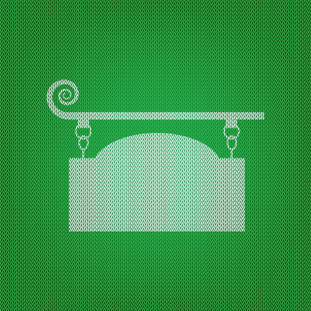 Wrought iron sign for old-fashioned design. white icon on the green knitwear or woolen cloth texture. Illustration