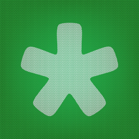 Asterisk star sign. white icon on the green knitwear or woolen cloth texture.