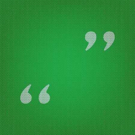 Quote sign illustration. white icon on the green knitwear or woolen cloth texture.