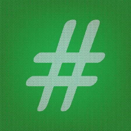Hashtag sign illustration. white icon on the green knitwear or woolen cloth texture.