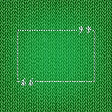 Text quote sign. white icon on the green knitwear or woolen cloth texture. Illustration