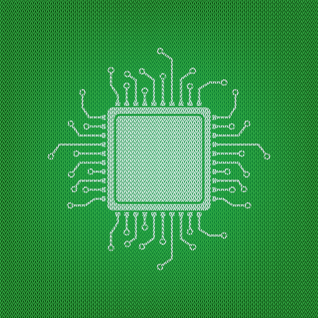 microcircuit: CPU Microprocessor illustration. white icon on the green knitwear or woolen cloth texture. Illustration