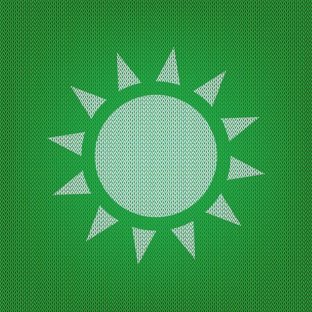 Sun sign illustration. white icon on the green knitwear or woolen cloth texture. Illustration