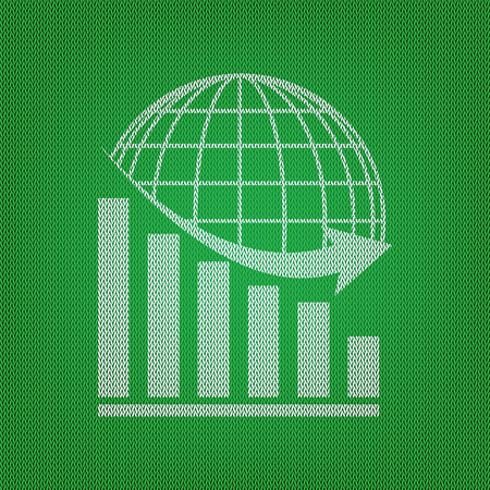 declining: Declining graph with earth. white icon on the green knitwear or woolen cloth texture. Illustration