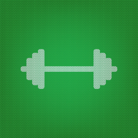 Dumbbell weights sign. white icon on the green knitwear or woolen cloth texture.
