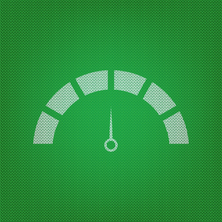 Speedometer sign illustration. white icon on the green knitwear or woolen cloth texture. Illustration