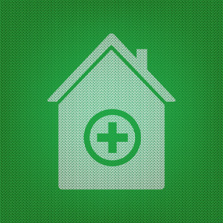 Hospital sign illustration. white icon on the green knitwear or woolen cloth texture. Illustration