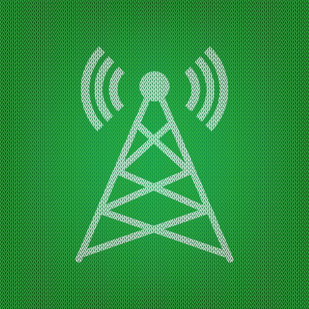 Antenna sign illustration. white icon on the green knitwear or woolen cloth texture.