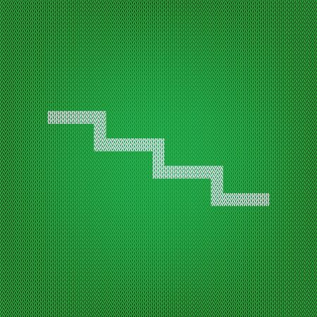 Stair down sign. white icon on the green knitwear or woolen cloth texture.