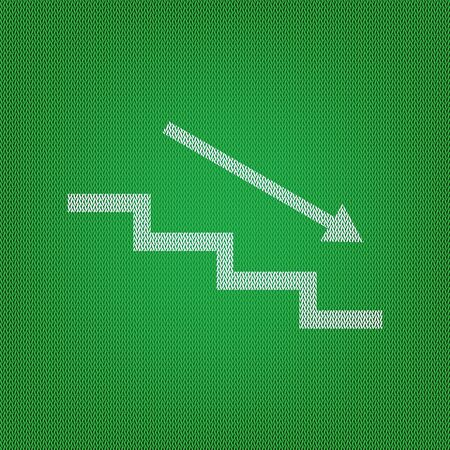 Stair down with arrow. white icon on the green knitwear or woolen cloth texture.