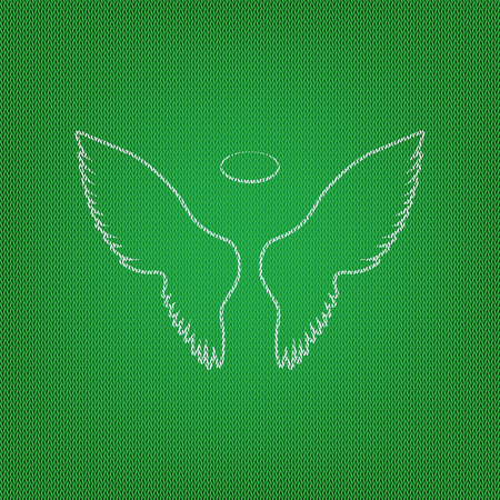Wings sign illustration. white icon on the green knitwear or woolen cloth texture.