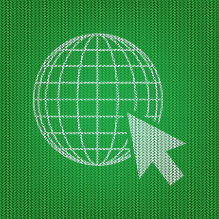 Earth Globe with cursor. white icon on the green knitwear or woolen cloth texture.