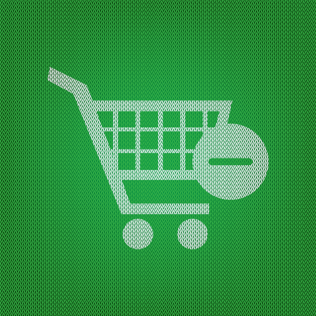 Vector Shopping Cart with Remove sign. white icon on the green knitwear or woolen cloth texture.