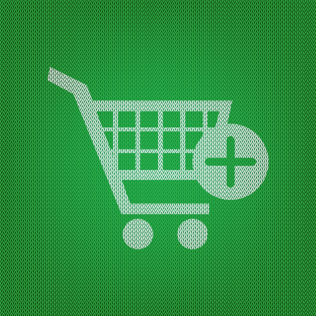 Shopping Cart with add Mark sign. white icon on the green knitwear or woolen cloth texture. Illustration